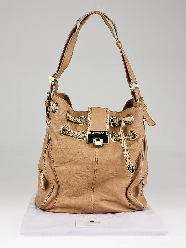 Jimmy Choo Beige Biker Leather and Snakeskin Trim Riki Hobo Bag