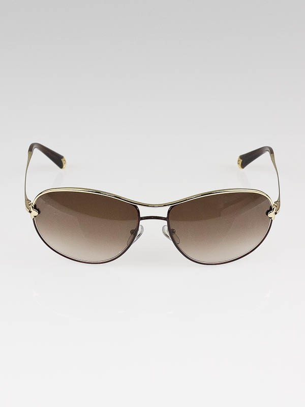 Louis Vuitton Gold Frame Brown Glitter Mimosa Sunglasses ...