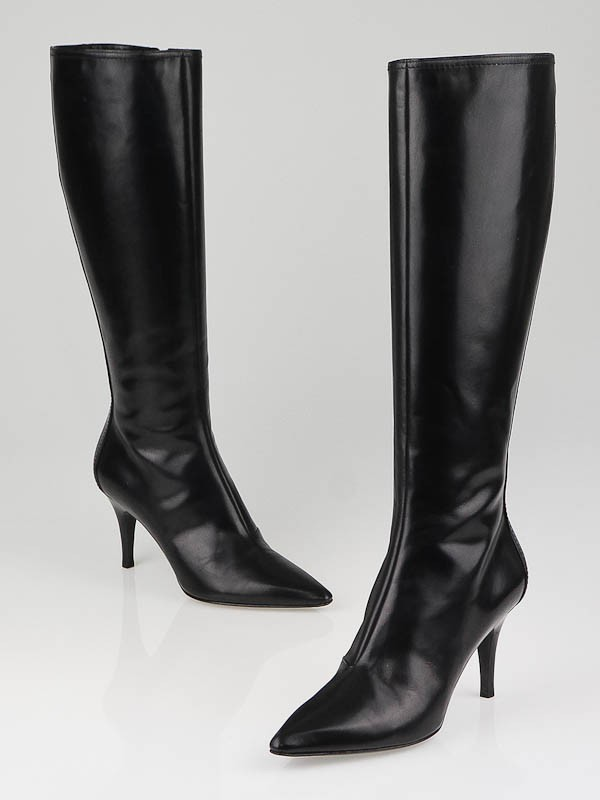 Louis Vuitton Black Leather Charming Knee-High Boots Size 5.5/36 ...