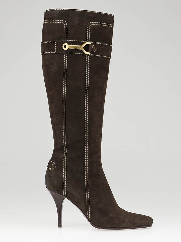louis vuitton brown nubuck leather high heel boots size 7