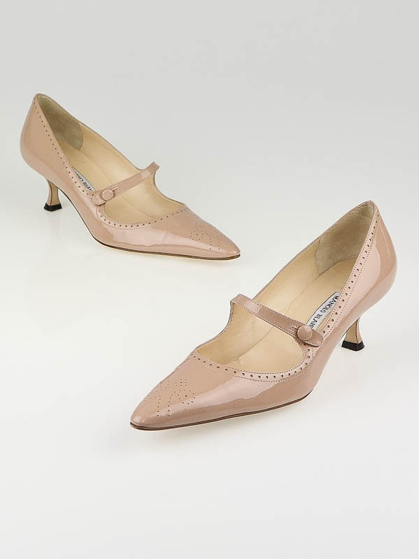 Manolo Blahnik Nude Patent Leather Kitten Heel Pumps Size 9/39.5 ...
