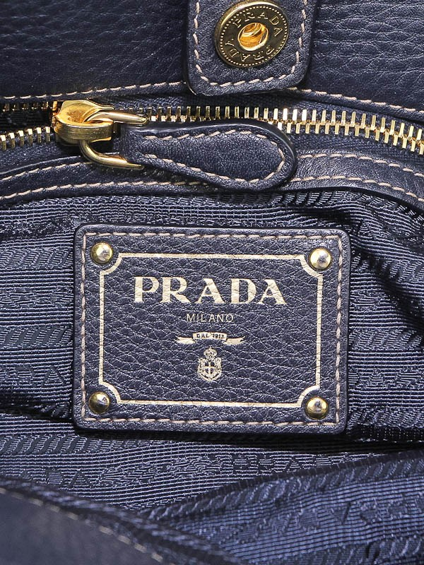 prada vela crossbody bag - Prada Navy Blue Tessuto Nylon and Leather Top Handle Bag BR4420 ...