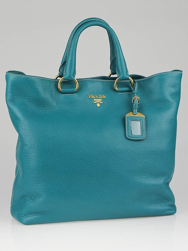 Prada Pavone Vitello Daino Leather Large Shopping Tote Bag BN1713 ...
