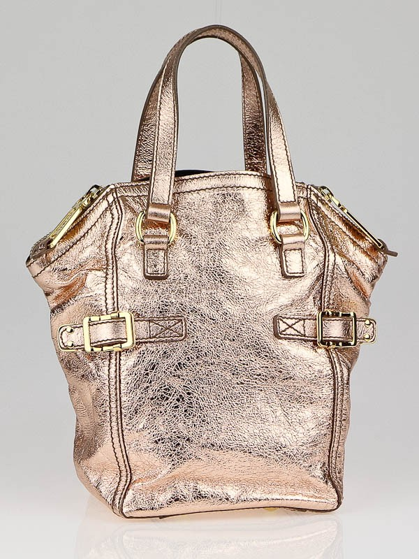 Yves Saint Laurent Rose Gold Metallic Leather Mini Downtown Bag ...