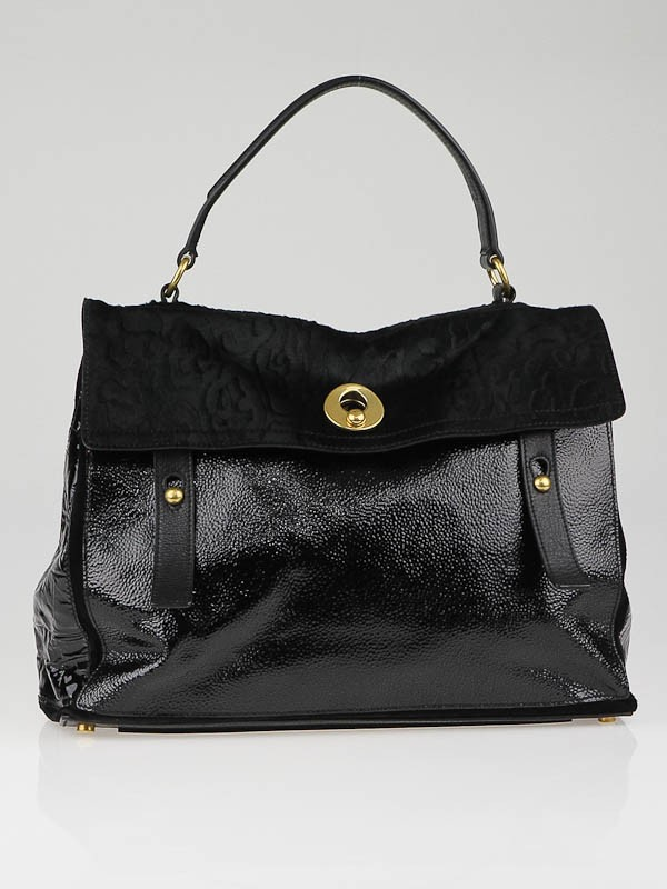 Yves Saint Laurent Black Patent Leather and Pony Hair Large Muse ...
