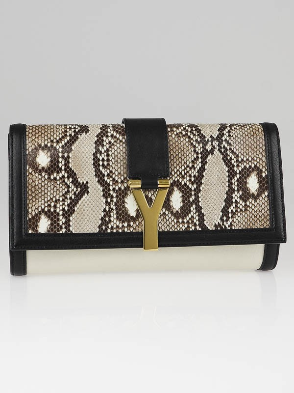 Yves Saint Laurent Black/White Snakeskin/Leather Chyc Clutch Bag ...