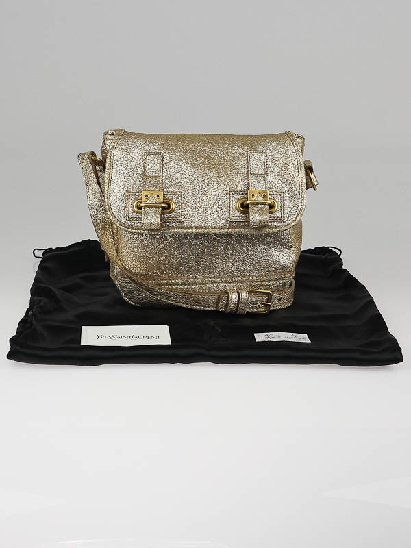 Yves Saint Laurent Gold Volcano Crackled Leather Small Besace ...