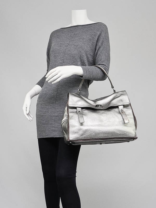 ysl silver leather handbag muse