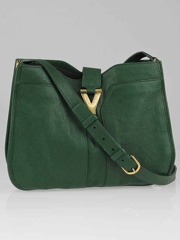 ysl city bag - Yves Saint Laurent Tartan Green Leather Medium Cabas ChYc Shoulder ...
