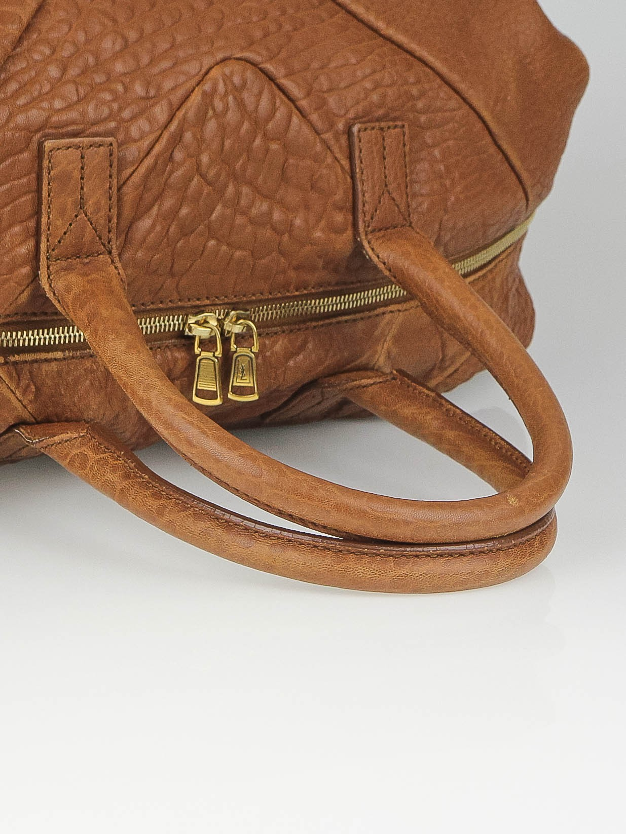 Yves Saint Laurent Brown Pebbled Leather Easy Y Zip Tote Bag ...