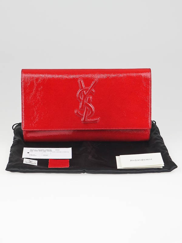 Yves Saint Laurent Red Patent Leather Sac Be Du Jour Clutch Bag ...