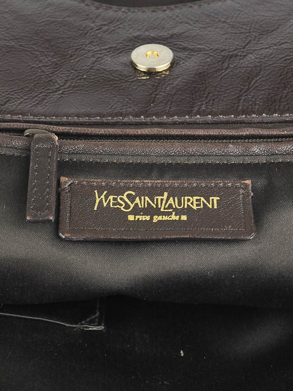 Yves Saint Laurent Dark Brown Patent Leather Small Tribute Bag ...