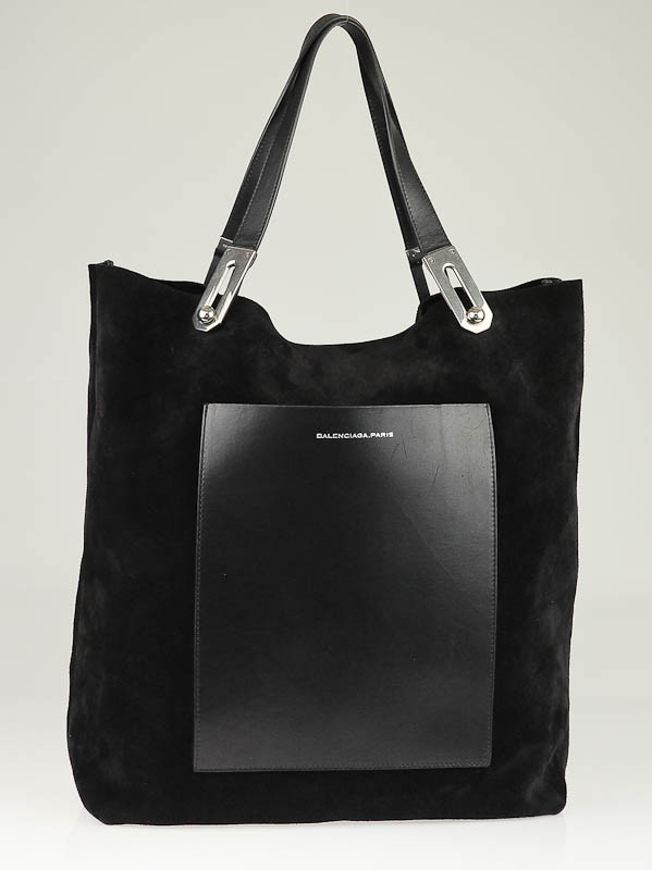Balenciaga Black Suede Pocket M Tote Bag - Yoogi's Closet