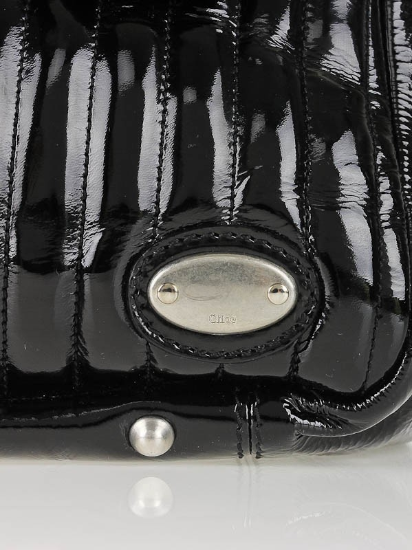 Chloe Black Quilted Patent Leather Bay Bag - Yoogi\u0026#39;s Closet