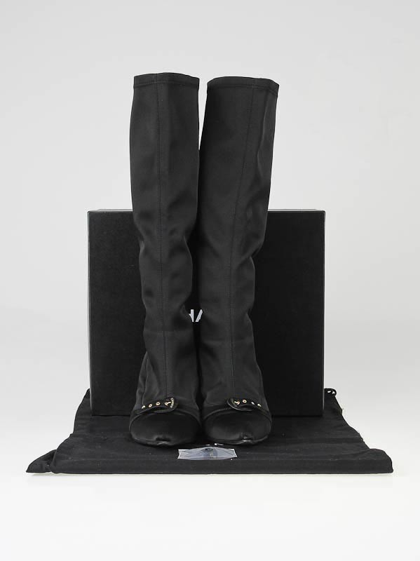 chanel black stretch knee high boots size 9 5 40