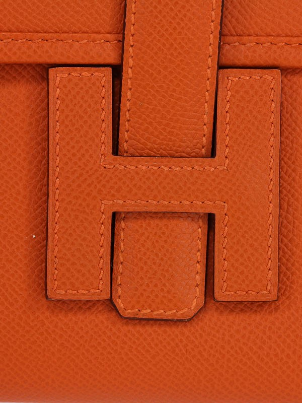 Hermes Orange Epsom Leather Jige Elan Long Clutch Bag - Yoogi\u0026#39;s Closet