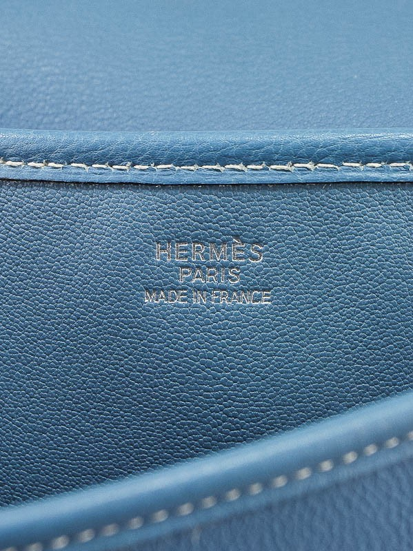 Hermes Blue Jean Ardennes Large Christine Envelope Shoulder Bag ...