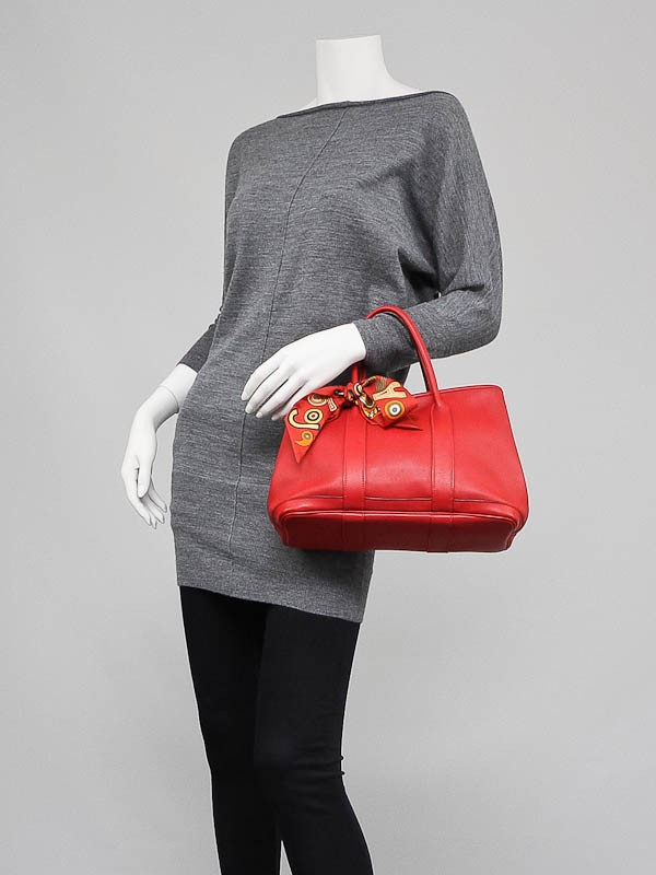 hermes red leather handbag garden party