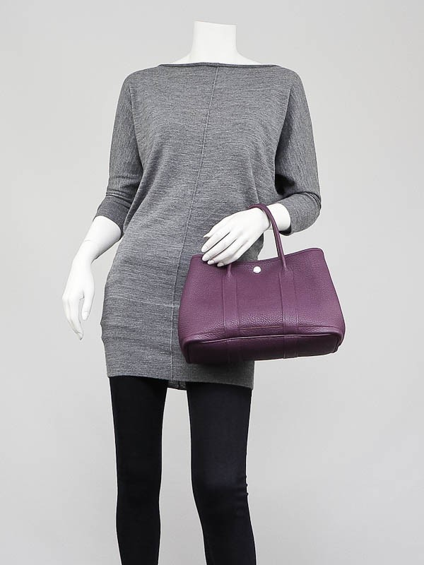Hermes Purple Negonda Leather Garden Party TPM Tote Bag Yoogis