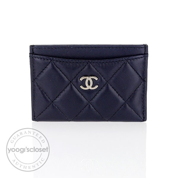 chanel card holder. chanel navy blue quilted lambskin card holder q