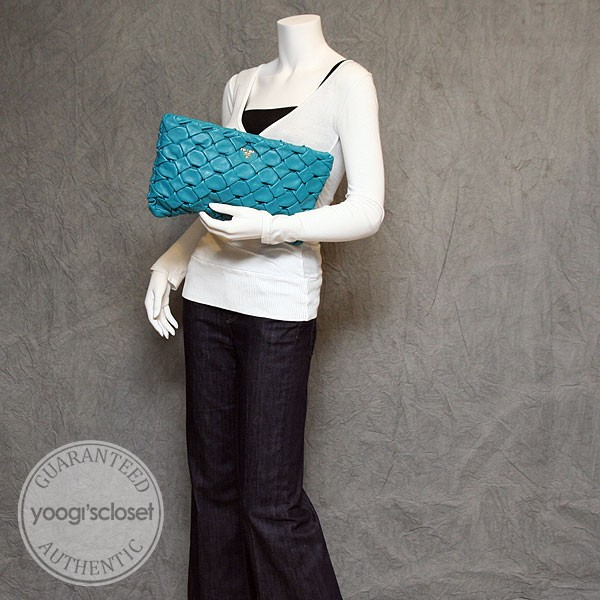 Prada Turquoise Nappa Hand Pleated Clutch Bag BP0207 - Yoogi\u0026#39;s Closet