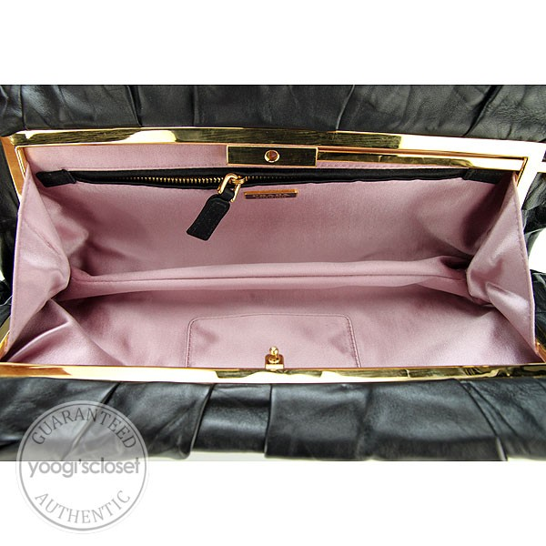 Prada Black Nappa Pleated Clutch Bag BP0051 - Yoogi\u0026#39;s Closet