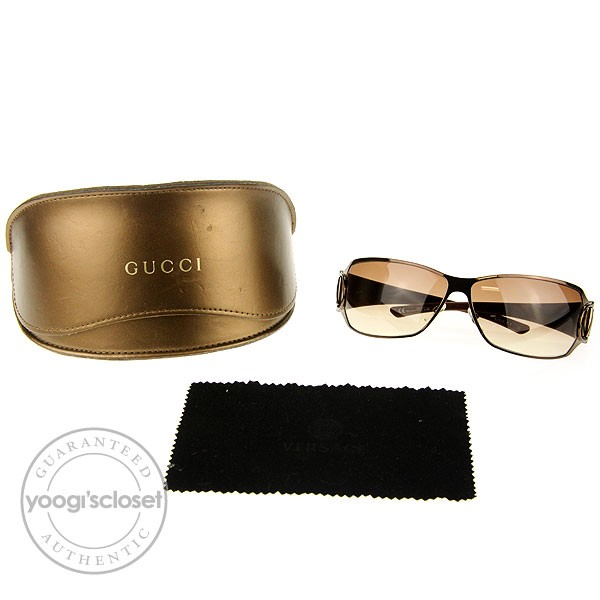 gucci shield sunglasses with crystal logo. Black Bedroom Furniture Sets. Home Design Ideas