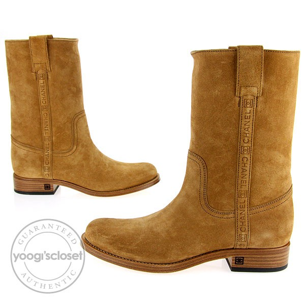 Chanel Camel Suede Cowboy Boots Size 9 - Yoogi&39s Closet