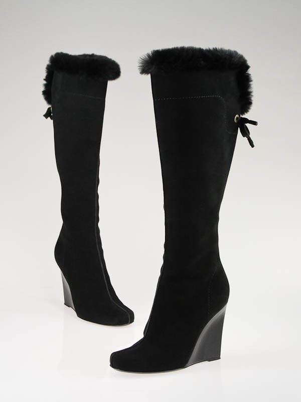louis vuitton black suede with fur wedge boots size 6 5 37