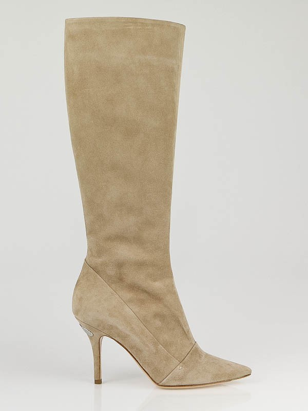 louis vuitton beige suede diana knee high boots size 6 5