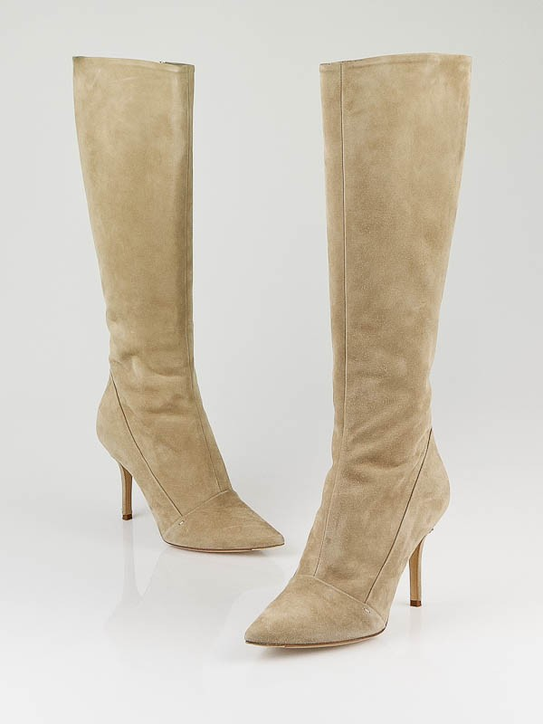 louis vuitton beige suede diana knee high boots size 8 38