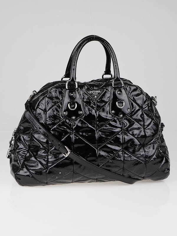 750c26cd0e7 Prada Black Patent Leather Chevron Quilted Large Dome Tote Bag .