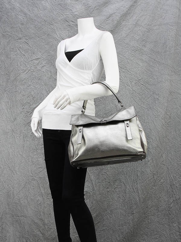 Yves Saint Laurent Silver Leather Large Muse Two Bag - Yoogi\u0026#39;s Closet