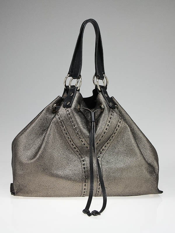 Yves Saint Laurent Bronze/Black Leather Double Sac Y Tote Bag ...