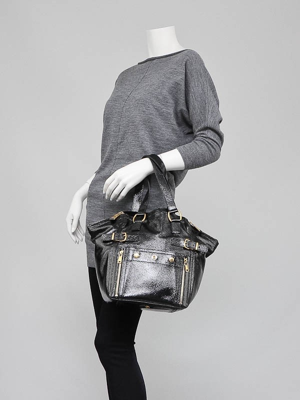 Yves Saint Laurent Black Patent Leather Small Downtown Tote Bag ...