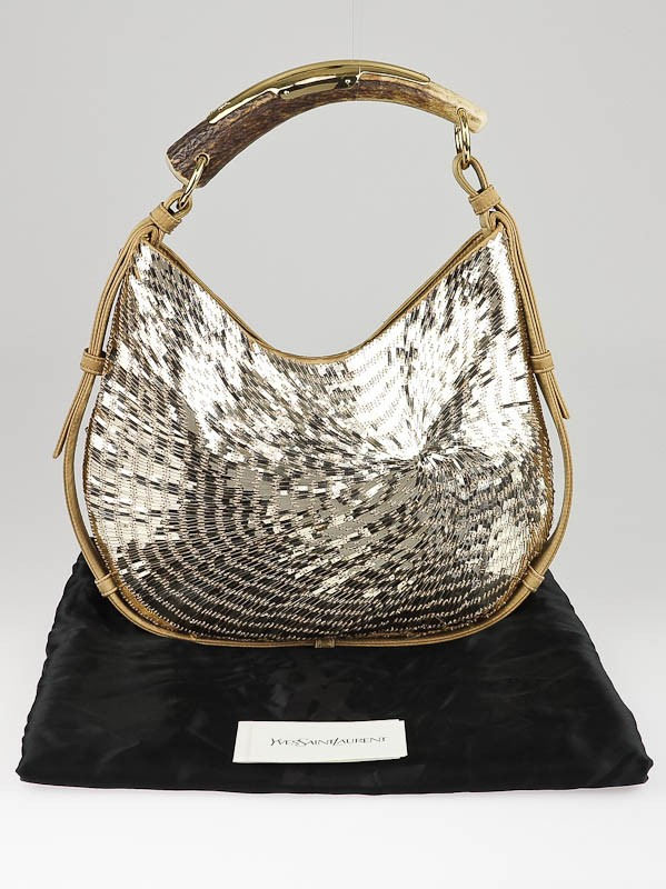 Yves Saint Laurent Gold Sequin and Satin Mombasa Horn Bag ...