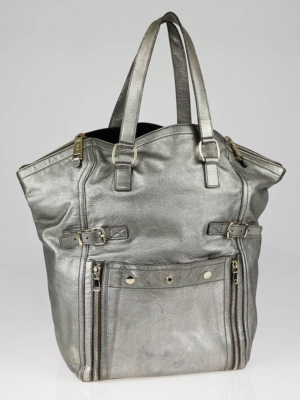 yves saint laurent discount handbags - large shopping saint laurent tote bag in silver metallic leather