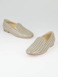Christian Louboutin Stone Patent Leather Rollings Spikes Flat Loafers Size 9/39.5