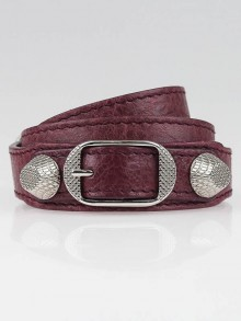 Balenciaga Cassis Lambskin Leather Triple Tour Giant Silver Bracelet