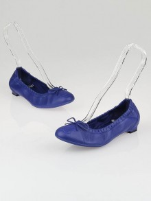 Chanel Royal Blue Leather CC Scrunch Elastic Ballet Flats Size 6.5/37