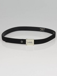 Chanel Black Fabric Narrow Logo Belt