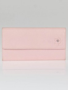 Chanel Pink Leather Camellia Long Flap Wallet