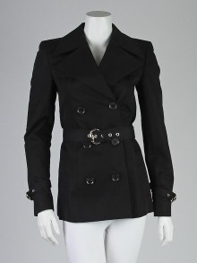 Gucci Black Cotton Blend Belted Short Trench Coat Size 4/38