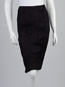Donna Karan New York Black Liquid Matte Cupro Ruched Pencil Skirt Size 4