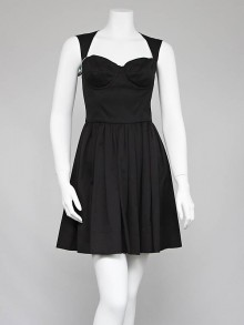 Dolce & Gabbana Black Cotton Fit and Flare Dress Size 8/42