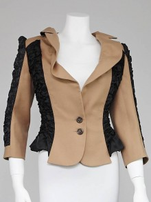 Louis Vuitton Beige Wool and Black Gathered Smock Jacket Size 10/42