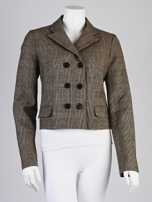 Chloe Beige Wool Plaid Blazer Jacket Size 8/40
