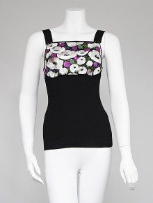 Louis Vuitton Floral Silk and Wool Sleeveless Top Size XS