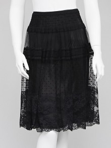 Escada Black Lace Midi Skirt Size 6/38