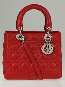 Christian Dior Red Cannage Quilted Lambskin Leather Medium Lady Dior Bag